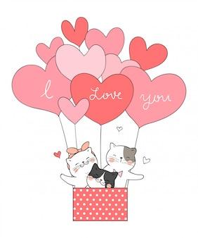 Dibujar gato en forma de corazón globo color rosa dulce.