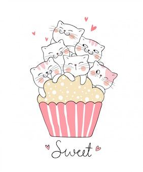 Dibujar gato con taza dulce pastel estilo doodle.