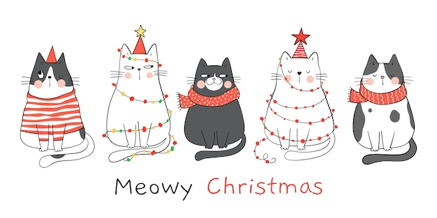 Dibujar gatos de banner para año nuevo y navidad.