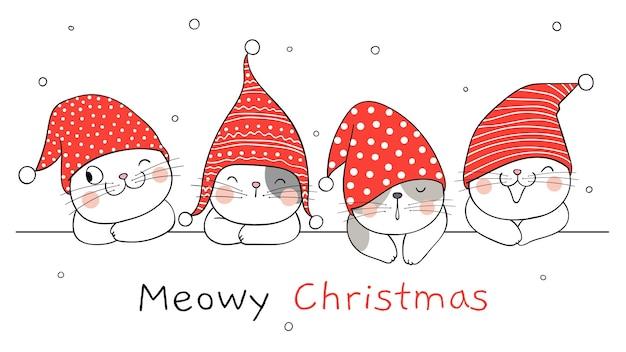 Dibujar gatos de banner para invierno, año nuevo y navidad.