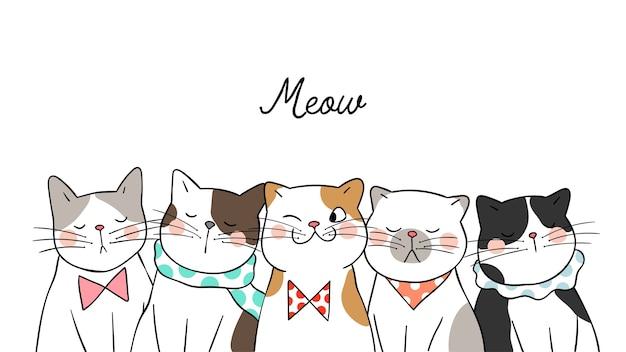 Dibujar gatos lindos del retrato del fondo de la bandera en blanco