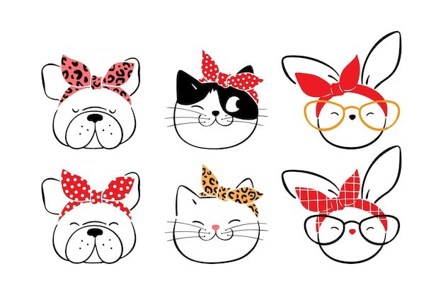 Dibujar gatos perro conejo con bandana.