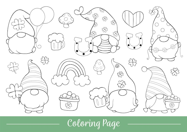 Dibujar la ilustración de la página para colorear de gnomo lindo para san patricio.