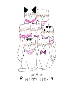 Dibujar lindo gato y palabra feliz tiempo estilo doodle