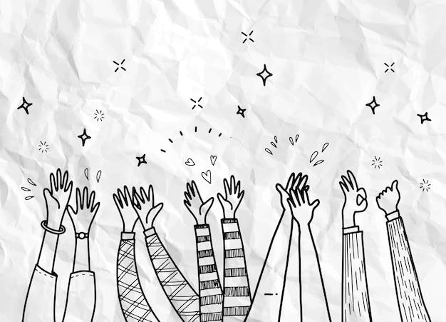 Dibujar a mano aplausos, mano dibujada de manos aplaudiendo ovación. aplausos, pulgares arriba gesto en estilo doodle