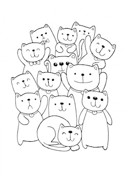 Dibujar a mano en blanco y negro estilo de personajes de gato garabatos ilustración para niños