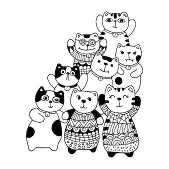Dibujar a mano en blanco y negro, estilo de personajes de gatos doodles ilustración para colorear para niños.