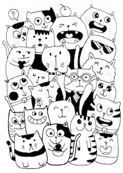 Dibujar a mano en blanco y negro, garabatos de estilo de personajes de gato