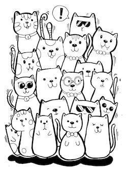 Dibujar a mano en blanco y negro, los personajes de gato establecen garabatos de estilo para colorear para niños.