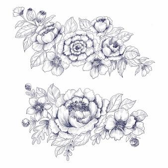 Dibujar a mano boda floral conjunto boceto fondo