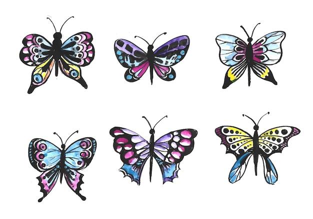 Dibujar a mano colección de diseño de acuarela de mariposas muy coloridas