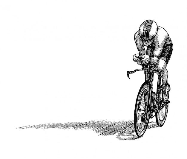 Dibujar a mano de la competencia de bicicletas mostrar jinetes aislar