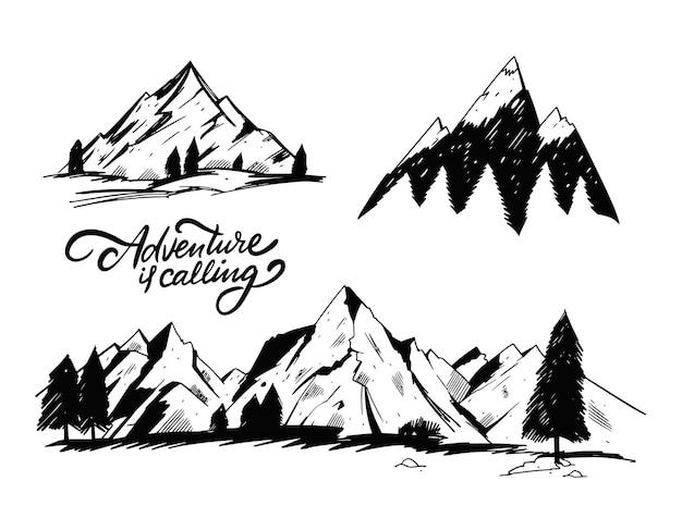 Dibujar a mano conjunto de montañas. estilo de grabado.