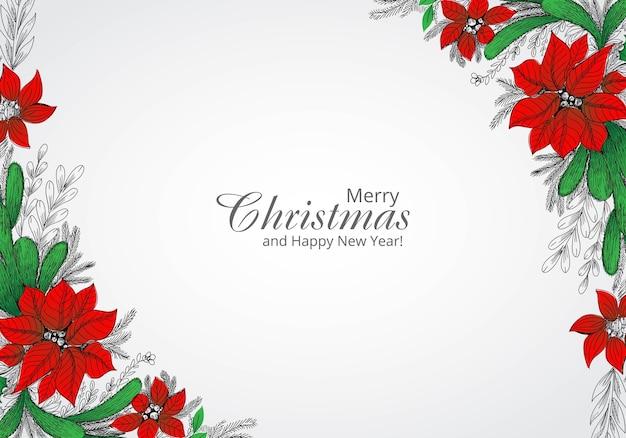 Dibujar a mano decorado fondo de tarjeta de vacaciones de guirnalda de navidad