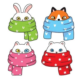 Dibujar a mano dibujos animados animales lindos y bufanda colorida.