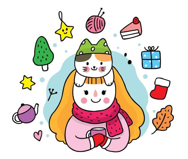 Dibujar a mano dibujos animados lindo invierno niña y gato juntos.