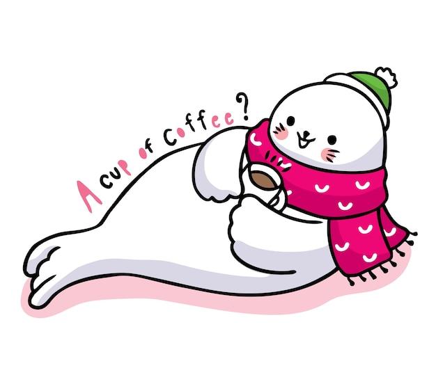 Dibujar a mano dibujos animados lindo sello beber café.