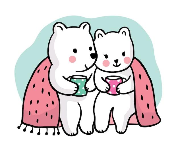 Dibujar a mano dibujos animados lindos osos polares beben café juntos.