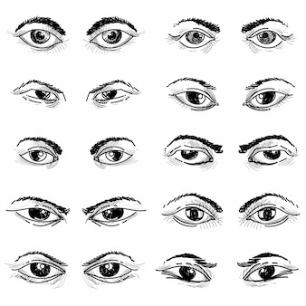 Dibujar a mano diferentes diseños de bocetos de ojos