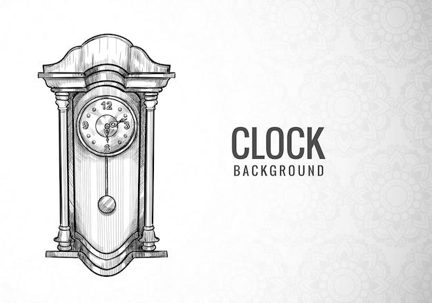 Dibujar a mano diseño de boceto de reloj despertador