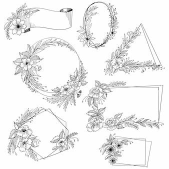 Dibujar a mano doodle diseño de conjunto de marco floral decorativo