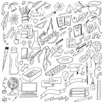 Dibujar a mano doodle escuela y diseño de conjunto de trabajo