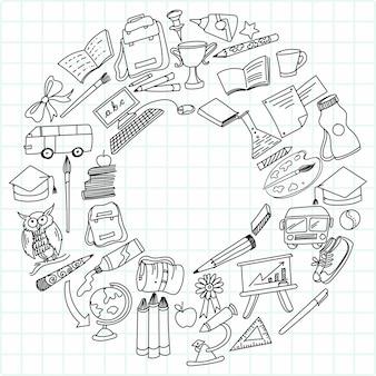 Dibujar a mano educación doodle dibujo conjunto de iconos