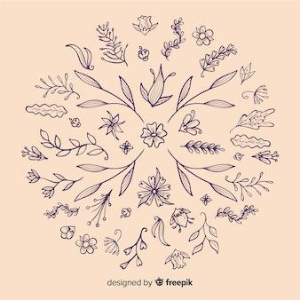 Dibujar a mano elementos de decoración floral