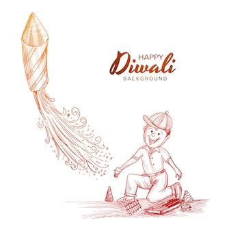 Dibujar a mano festival indio diwali niño volando cohete celebración fondo