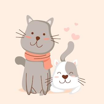 Dibujar a mano gatitos y sus madres en invierno.