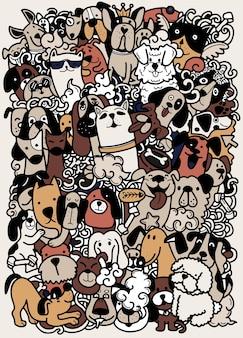Dibujar a mano, grupo de perros doodle, diferentes especies de perros