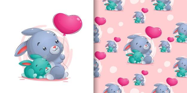 Dibujar a mano lindo conejo con conejo pequeño en la ilustración del patrón
