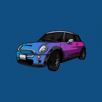 Dibujar a mano mini cooper car