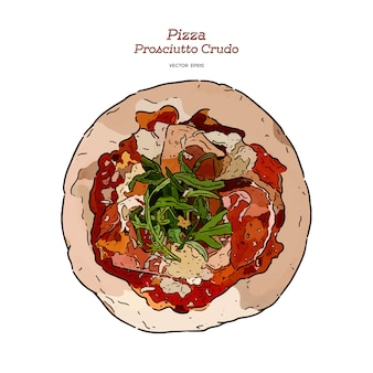 Dibujar a mano la pizza de jamón de parma