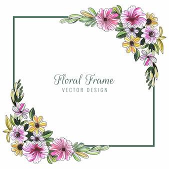 Dibujar a mano tarjeta de boda decorativa colorida flor de fondo