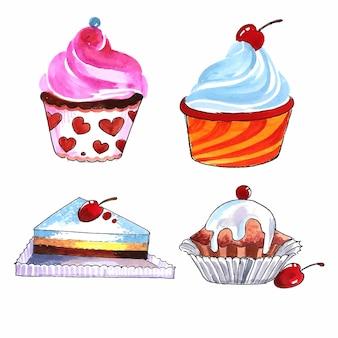 Dibujar a mano tortas de cumpleaños set diseño acuarela
