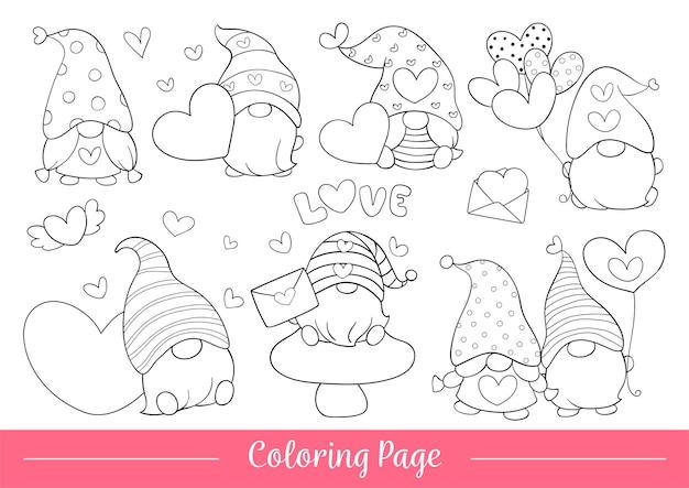 Dibujar una página para colorear de lindo gnomo para san valentín