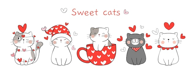 Dibujar pancarta dulce gato enamorado de san valentín.