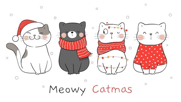 Dibujar pancarta gato para invierno y navidad.
