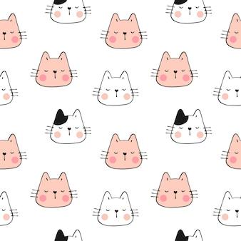 Dibujar patrón de color pastel cara de gato estilo doodle.