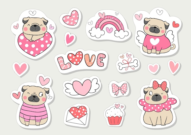 Dibujar pegatinas de colección perro pug para san valentín.