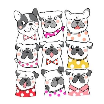 Dibujar retrato lindo pug y bulldog francés estilo doodle