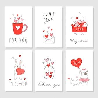 Dibujar tarjeta de felicitación para el día de san valentín con poco corazón.