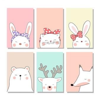 Dibujar tarjetas de felicitación con lindos animales en pastel.