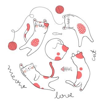 Dibujar vector carácter diseño adorable gato rosa color pastel