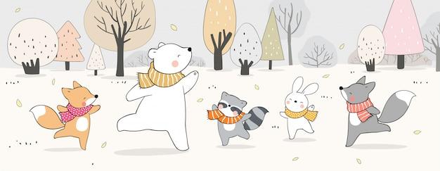 Dibuje banner animal feliz en el bosque para la temporada de otoño.