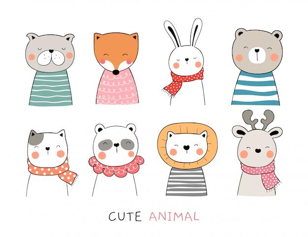 Dibuje la colección animal lindo en blanco.