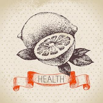 Dibuje un fondo saludable con limón. ilustración de vector dibujado a mano