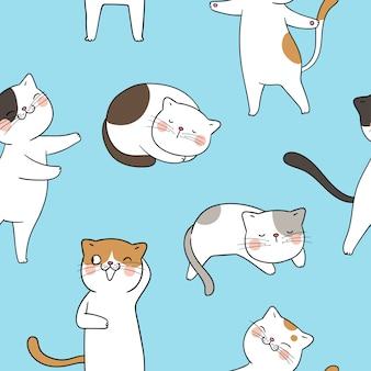 Dibuje el gato de patrones sin fisuras en azul pastel.