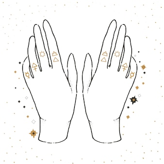 Dibuje una ilustración gráfica con símbolos místicos y ocultos. manos afortunadas.